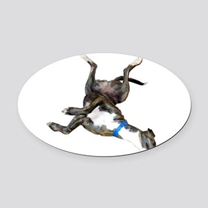 Cockroaching Greyhound Oval Car Magnet