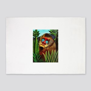 Henri Rousseau Mandrill In The Jung 5'x7'Area Rug