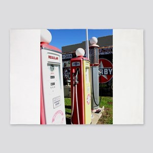 Route 66 gas pumps. 5'x7'Area Rug