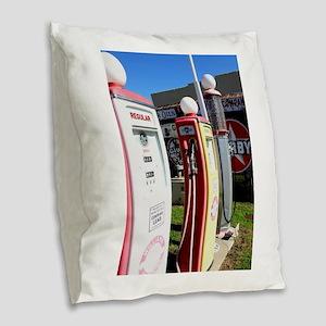 Route 66 gas pumps. Burlap Throw Pillow