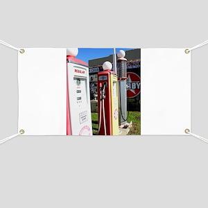 Route 66 gas pumps. Banner