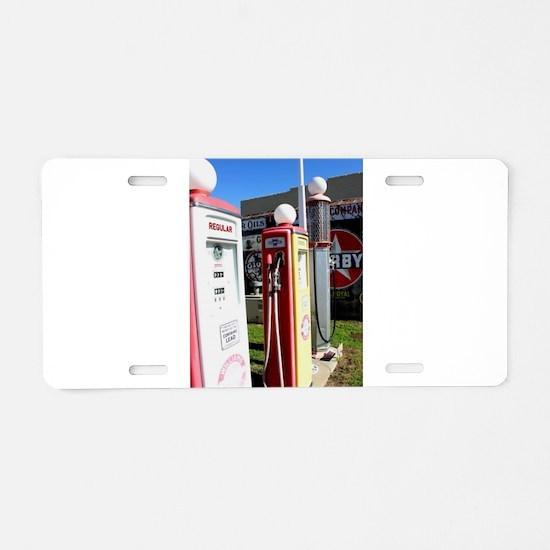 Route 66 gas pumps. Aluminum License Plate
