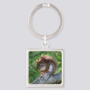 Red Squirrel Square Keychain