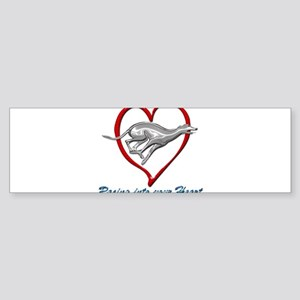 Greyhound Racing into your Heart Bumper Sticker