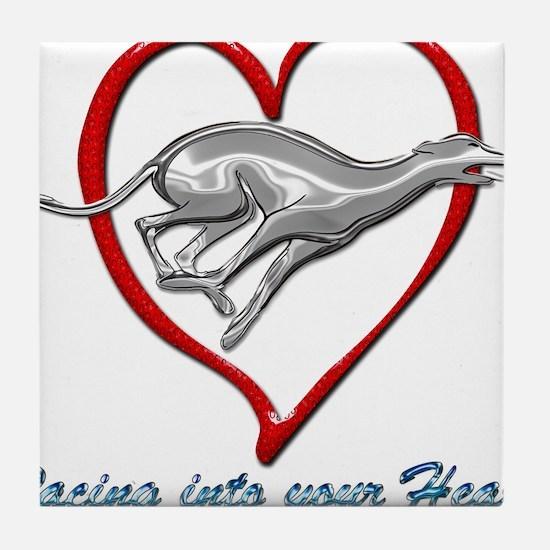 Greyhound Racing into your Heart Tile Coaster