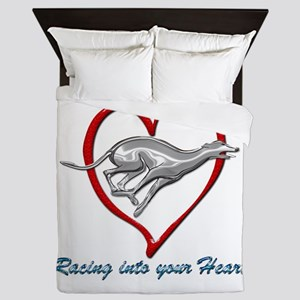 Greyhound Racing into your Heart Queen Duvet