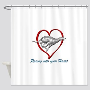 Greyhound Racing into your Heart Shower Curtain