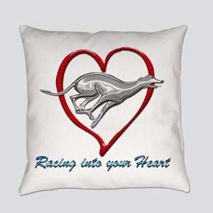 Greyhound Racing into your Heart Everyday Pillow