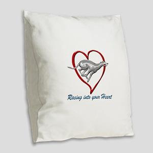 Greyhound Racing into your Hea Burlap Throw Pillow