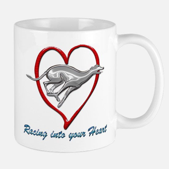 Greyhound Racing into your Heart Mugs