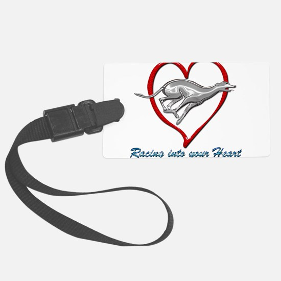 Greyhound Racing into your Heart Luggage Tag
