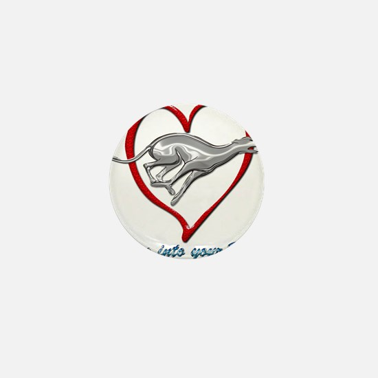 Greyhound Racing into your Heart Mini Button