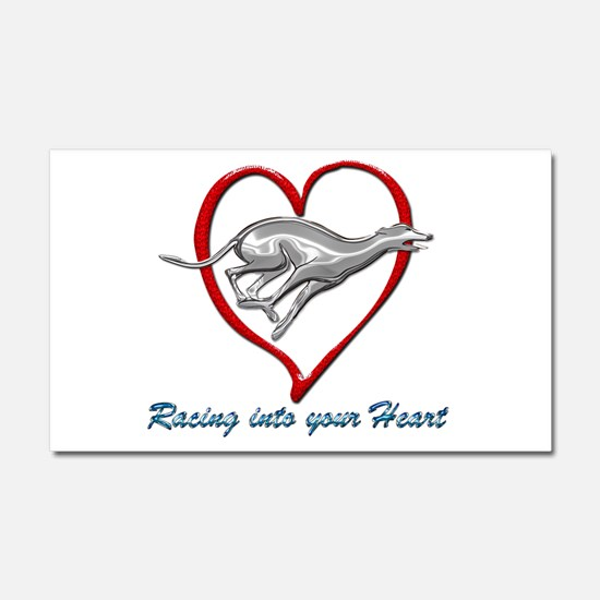 Greyhound Racing into your Hear Car Magnet 20 x 12