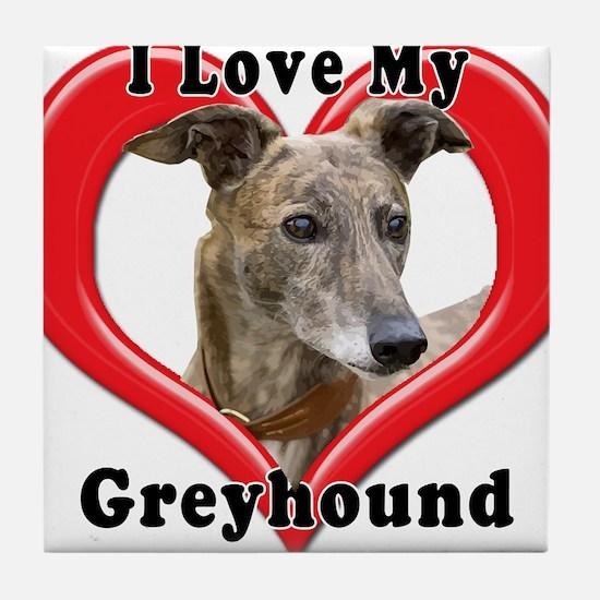 I love my Greyhound logo Tile Coaster