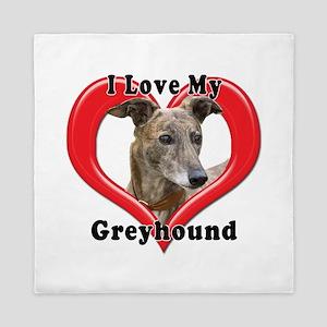 I love my Greyhound logo Queen Duvet