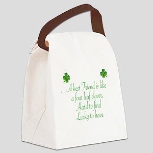 A  BES FRIEND IS LIVE A FOUR LEAF Canvas Lunch Bag