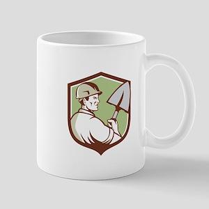 Construction Worker Spade Crest Retro Mugs