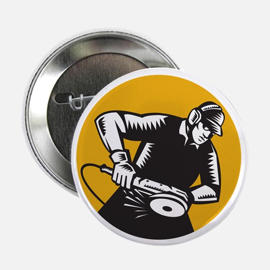 """Worker Angle Grinder Oval Woodcut 2.25"""" Button (10"""