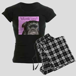 Whatcha Eatin Black Pug Women's Dark Pajamas