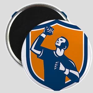 Athlete Fist Pump Crest Retro Magnets