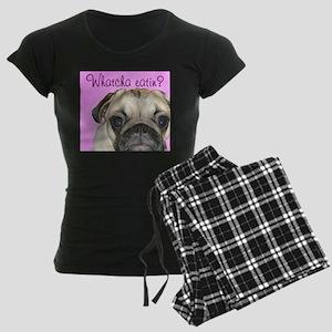 Whatcha Eatin? Fawn Pug Women's Dark Pajamas