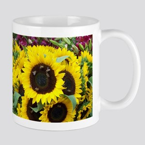 Bee Dance On A Sunflower Day Ceramic Mugs