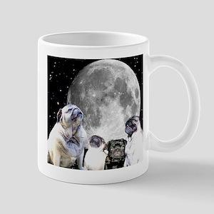 Four Pug Moon Ceramic Pug Mugs