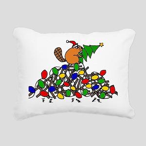 Funny Christmas Beaver Rectangular Canvas Pillow