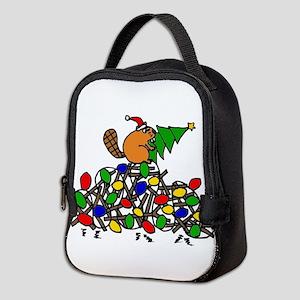 Funny Christmas Beaver Neoprene Lunch Bag