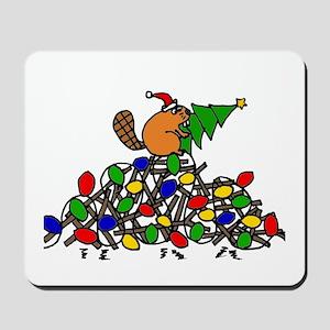 Funny Christmas Beaver Mousepad