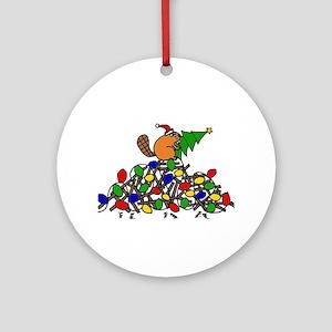 Funny Christmas Beaver Round Ornament