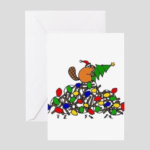 Funny Christmas Beaver Greeting Cards
