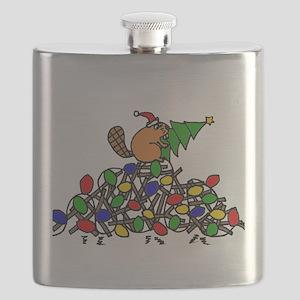 Funny Christmas Beaver Flask