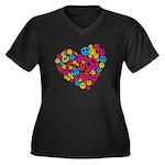 Love & Peace in Heart Women's Plus Size V-Neck Dar