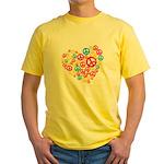 Love & Peace in Heart Yellow T-Shirt