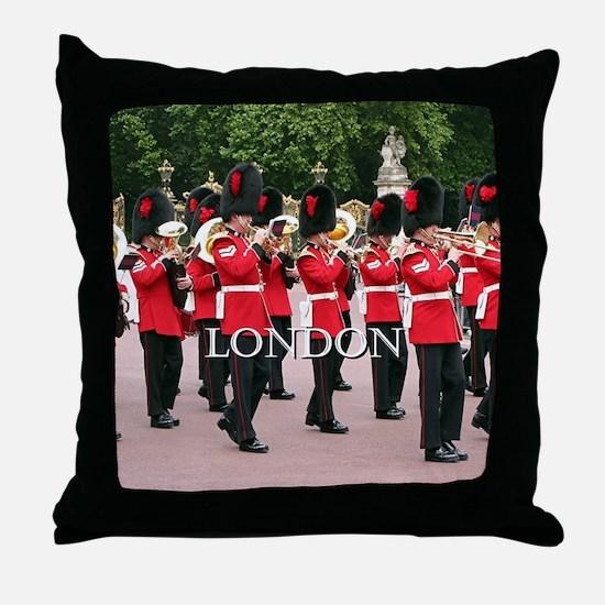 Guards Band, London (caption) Throw Pillow