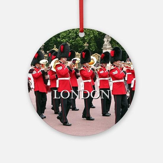 Guards Band, London (caption) Round Ornament