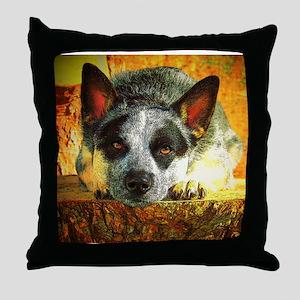 """Pensive Cattle Dog"" AuCaDogs - Throw Pillow"