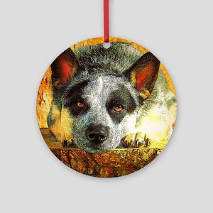 "AuCaDogs ""Pensive Cattle Dog"" Ornament (Round)"
