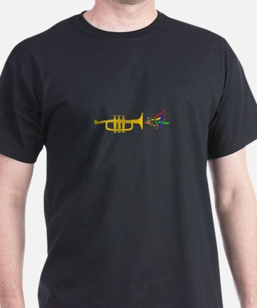 trumpet Playing Colorful Vibrant Music T-Shirt