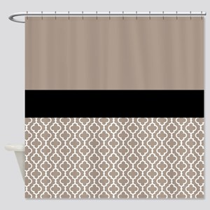 Black Taupe Quatrefoil Shower Curtain