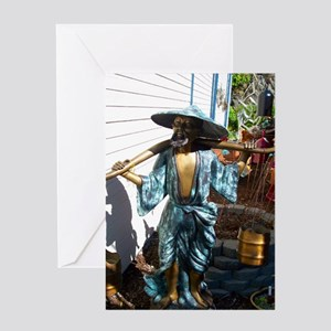 Bronze Chinese Man Sculpture Greeting Card