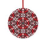 Black, white and red kaleidoscope 9070 Round Ornam