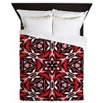 Black, white and red kaleidoscope 9070 Queen Duvet