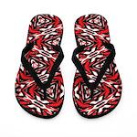 Black, white and red kaleidoscope 9070 Flip Flops
