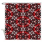 Black, white and red kaleidoscope 9070 Shower Curt