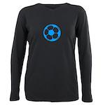 Blue Soccer Ball Plus Size Long Sleeve Tee
