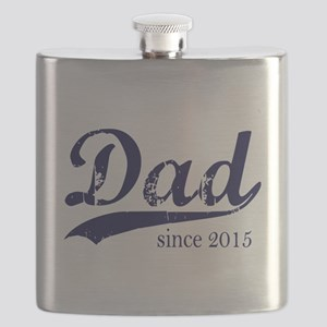 Dad since 2015 - Navy lettering Flask