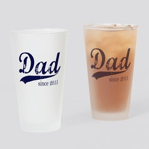 Dad since 2015 - Navy lettering Drinking Glass