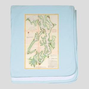 Vintage Map of The Puget Sound (1867) baby blanket